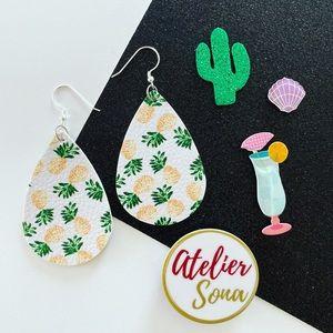 Summer Pineapple Tear Drop Earrings - White